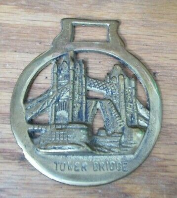 Vintage Solid Brass Horse Saddle Harness Brass Medallion Tap Tower Bridge Guc