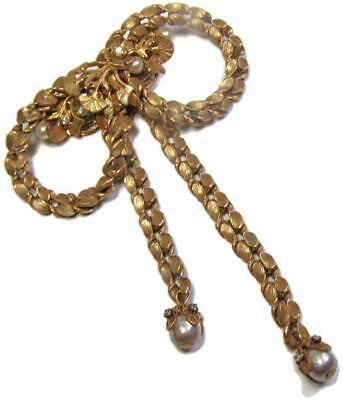 1950s Miriam Haskell Antiqued Gold Tone Chain Bow Brooch Pin Pearls Rhinestones
