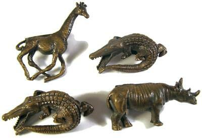 1974 Arthur Court Bronze Napkin Ring Set of Four Alligator Giraffe & Rhinoceros