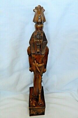 """Large Egyptian Resin Ramses II Ankh Scarab Stone Statue Hand Carved 13.5"""""""
