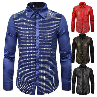 Mens Casual Pure Cotton sequined Shirts Elegant Dress Shirt Party  Striped Top