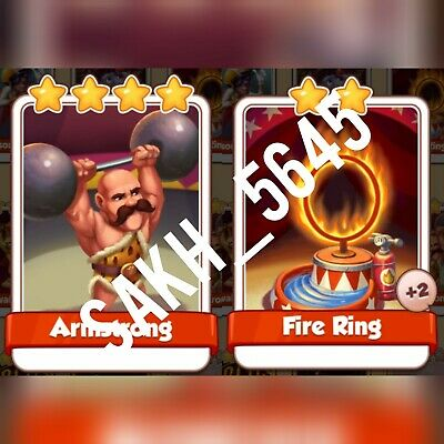 1 x  Fire ring & 1 x Armstrong :- Coin Master Cards ( Fastest Delivery )