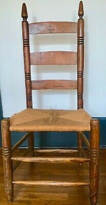 (4) Ethan Allen Antique Vintage Pair Ladder Back Rush Seat (seats re-cained)