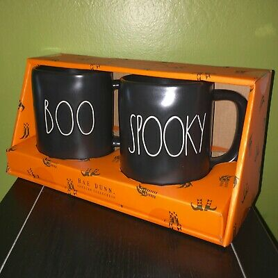 "New RAE DUNN Halloween LL ""BOO"" & ""SPOOKY"" Black Mugs (Set of 2) By Magenta"