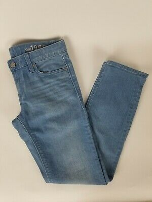 Gap 1969 Womens Real Straight Light Blue Wash Stretch Jeans, Size 26P.