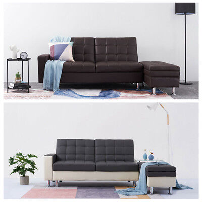 Faux Leather Sofa Bed Storage Ottoman Sofabed Living Room Black / Grey / Brown
