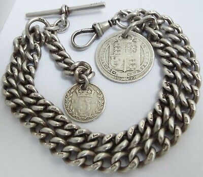 SUPERB HEAVY 59g ENGLISH ANTIQUE 1902 SOLID STERLING SILVER DOUBLE ALBERT CHAIN