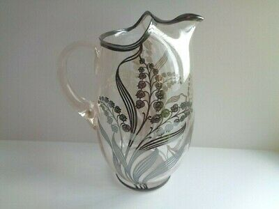 Sterling Silver Overlay Glass Water/Cocktail Pitcher-Bluebells