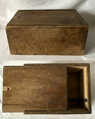 Vintage Large Almost 1.2kg Wooden Box with Sliding Lid 25x20x11cm Approx