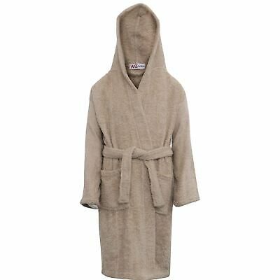 Kids Girls Boys 100% Cotton Soft Stone Hooded Bathrobe Luxury Dressing Gown 2-13