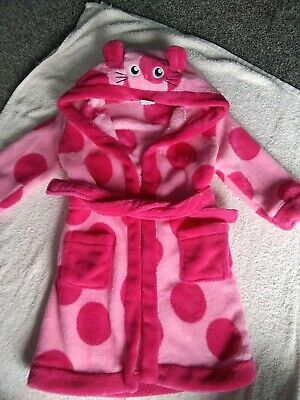 Girls Dressing Gown Age 2-3 Years Used Pink Hood