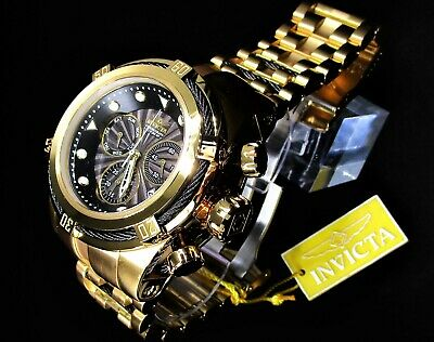 Invicta Bolt Zeus Swiss Movement 53mm Stainless Steel Watch Gold Black Dial