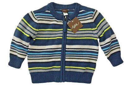 NWT Tea Collection Baby Boys 3-6 Month Gavin Blue Striped Zip Front Sweater $59