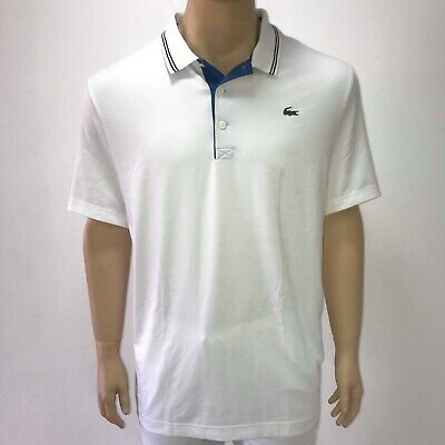 f9045284d6 LACOSTE MENS SPORT Lettering Stretch Technical Jersey Golf Polo Shirt L  White