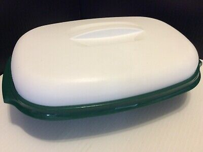 Tupperware #1273 Microwave Rice Veggie Steamer Cooker 6 Cup Green / white 3 Pc