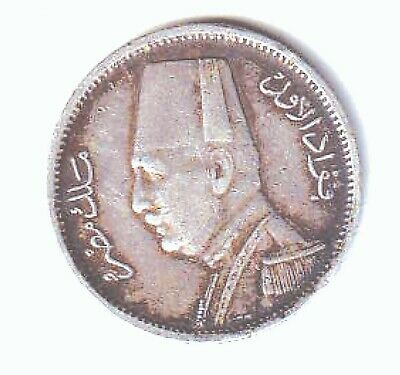 Egypt Silver 2 Piastres Dated Ah1348-1929Bp  Better Grade Coin With Good Detail