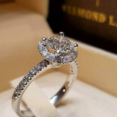 Wedding Ring Crystal Silver Jewelry Ring  Engagement Gold Cubic Zircon Ring 6T