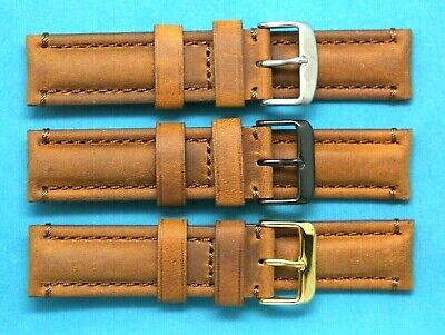 22mm Brown Crazy horse Leather Replacement Watch Band Silver, Black, Gold Buckle