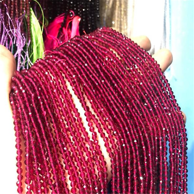1pcs 3mm Dark Red Spinel Section Loose Bead Making Jewelry 15.5inches Charm