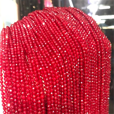 1pcs 3mm Red Spinel Section Loose Bead Making Jewelry 15.5inches Strand