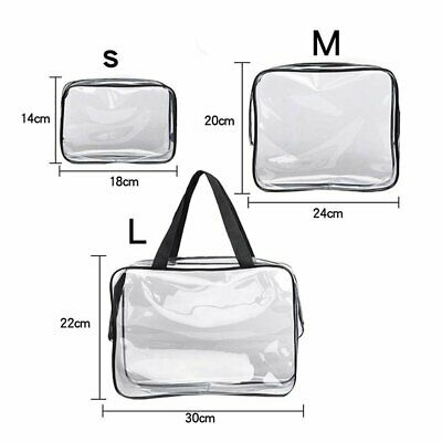 Clear Cosmetic Makeup Bag Transparent See Through Toiletry Travel Bags Zipper UK