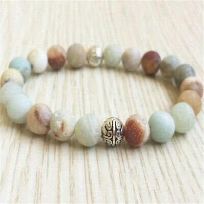 8mm Amazonite Beads Bracelet 7.5 inches Sutra Healing Gemstone Bless Pray Lucky