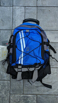 Blue Backpack Book bag Hiker School Travel Reflective day knapsack water proof