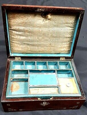 Lovely Antique Mahogany & Mother Of Pearl Inlaid Work Box, Sewing Box c 1900