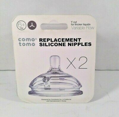 Comotomo Replacement Nipples in Variable Flow for Ages 6+ Months (2-Pack) *Read*