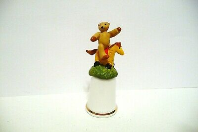 Thimble Sterling Classic Handpainted  Pewter Topper Teddy Bear On Rocking Horse