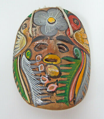 Vintage Small Mexican Pottery Mask Redware Curved Wall Decor Label Hand Painted