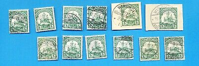 GERMAN SOUTHWEST AFRICA - Scott 27 used lot of thirteen for town cancels - 1906