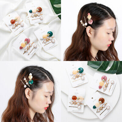 Snap Barrettes Stick Hairpin Pearls Acrylic Hair Clips Button Bobby Pin