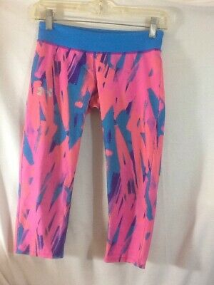 Adorable Girls Youth Sz Lg Fitted UNDER ARMOUR Tie Dye Pattern Capri Leggings