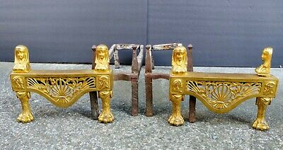 Antique Pair of Sphinx Egyptian Chenets Fireplace Andirons Rococo Gilt Heavy