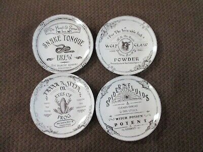 NWT Set of 4 222 Fifth Hallow Apothecary Porcelain Appetizer Dessert Plates