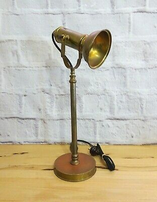 Vintage Industrial Brass Desk / Table Lamp