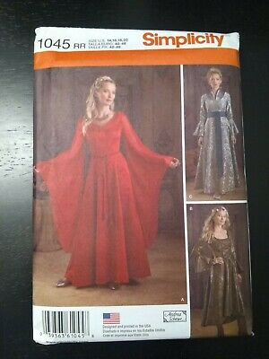 Simplicity Pattern 1045 Medieval Gown Dress Costume Size 14-20