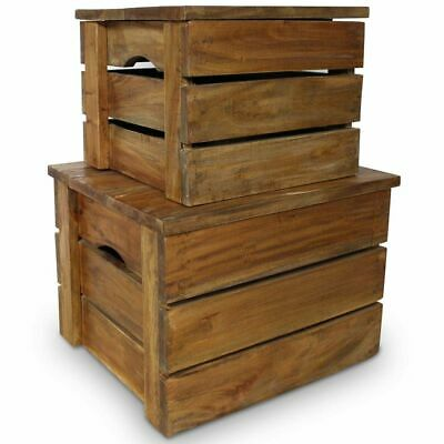 Solid Reclaimed Wood Storage Crate Set 2 Piece Box Trunk Toy Organizer
