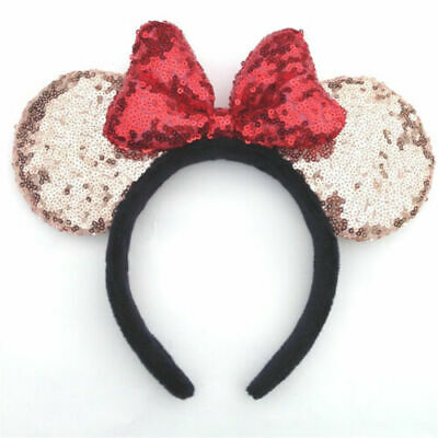 New Disney Parks Minnie Mouse Ears Champagne gold Red Bow Sequins Party Headband