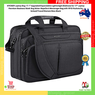 "Laptop Bag 17.1"" Expandable 15.6""-17"" inch Briefcase Large Travel Water-Repellen"