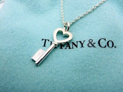 "Authentic Tiffany Necklace Pendant Heart Key Sterling Silver 16"" #26"