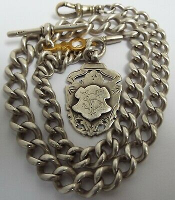 HANDSOME LRGE HEAVY 66g ENGLISH ANTIQUE 1899 SOLID STERLING SILVER ALBERT CHAIN