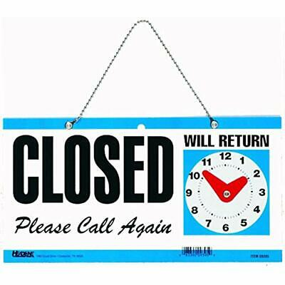 9395 Double-Sided Open/Closed/Will Return Sign With Clock Hands, 6 Inches By And