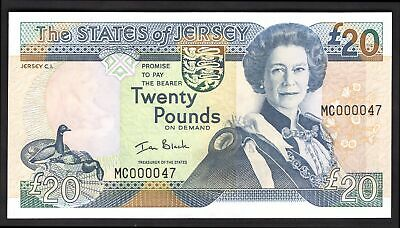 Jersey; States issue. 20 pounds. (2000). Very low number. MC000047. (Pick 29a...