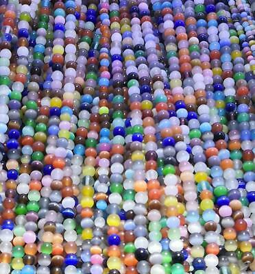 6mm  Smooth Mixed Cat Eye Stone Round Shape DIY Gemstone Loose Beads Strand 15""