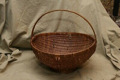 Primitive Antique Unusual Footed Gathering Basket w Losses 13x14x14""