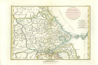 """1817 - Original Antique MAP """"THESSALY"""" Ancient GREECE Anacharsis (14)"""