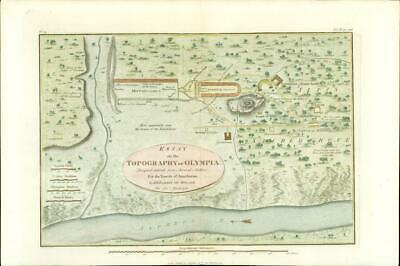 1817 Original Antique MAP Topography of OLYMPIA Ancient GREECE Anacharsis (7)