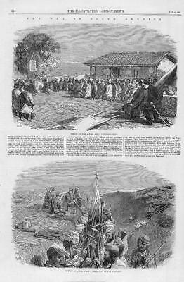 1866 Antique Print - SOUTH AMERICAN WAR Capon Peris Trenches Allied Army  (291)